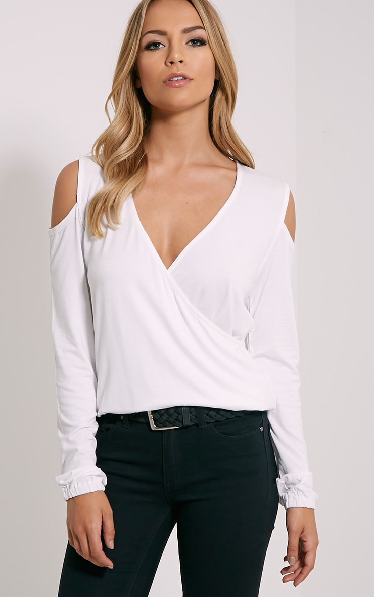 Tarny White Open Shoulder Wrap Top 1
