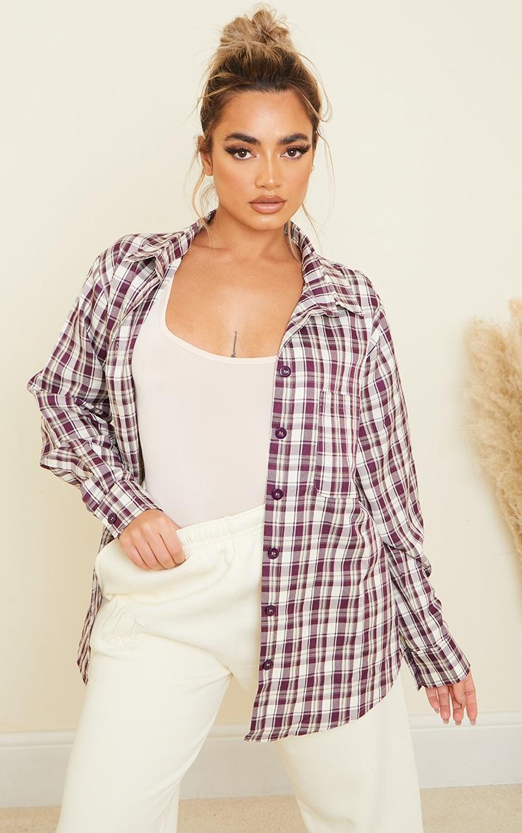 Petite Dark Purple Checked Oversized Shirt 1