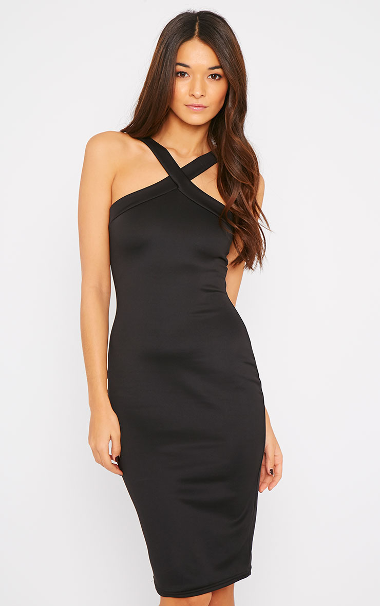 Melanie Black Cross Front Midi Dress 3