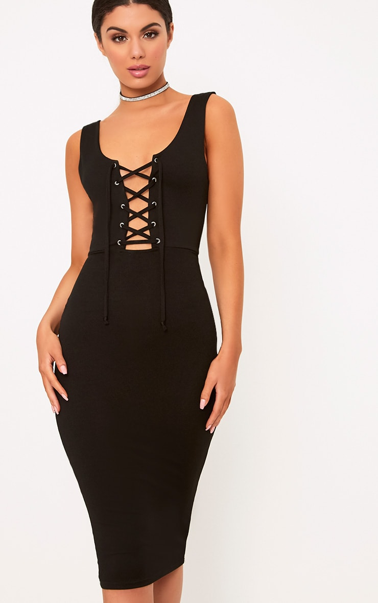 Black Lace Up Front Midi Dress 1
