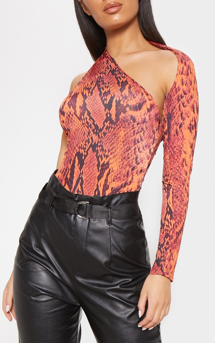 Orange Snake Print One Shoulder Asymmetric Bodysuit 5