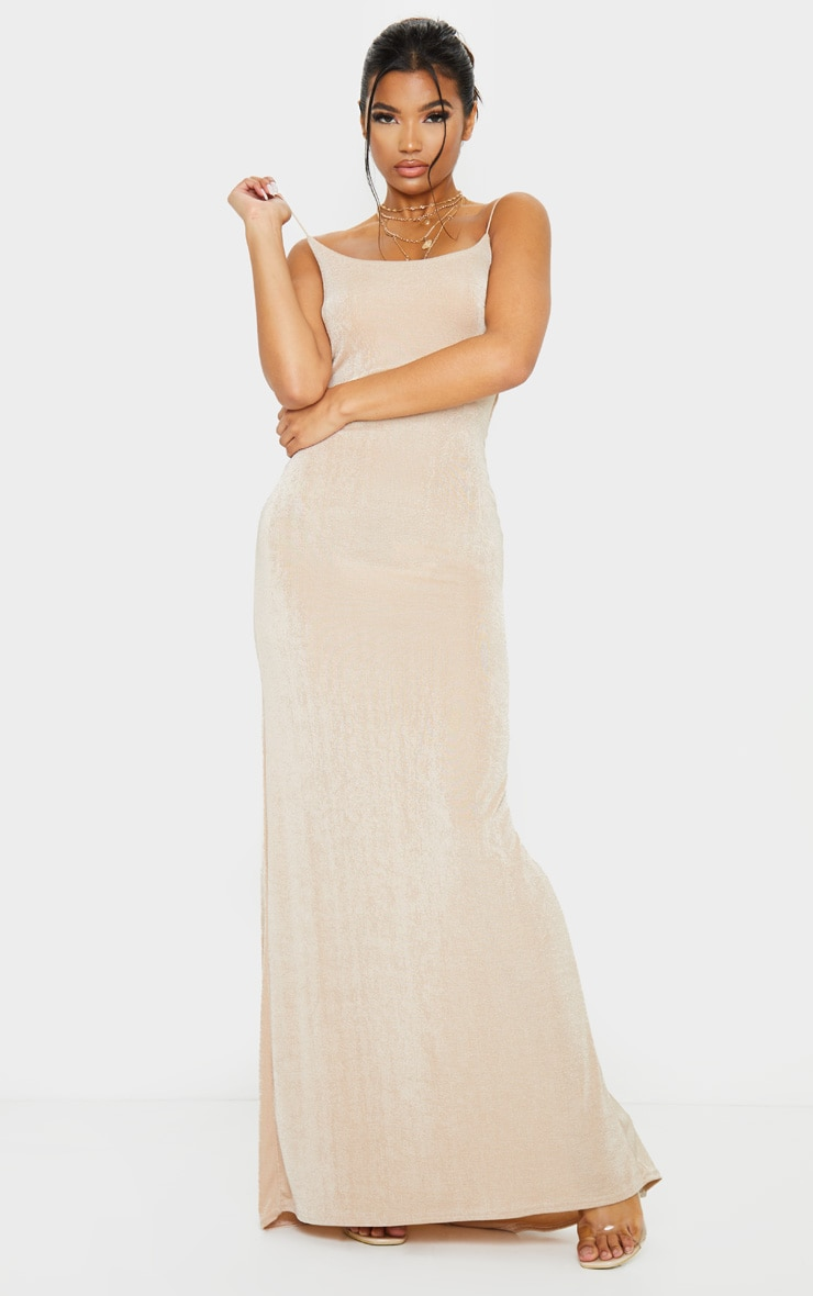 Nude Textured Slinky Strappy Maxi Dress 1