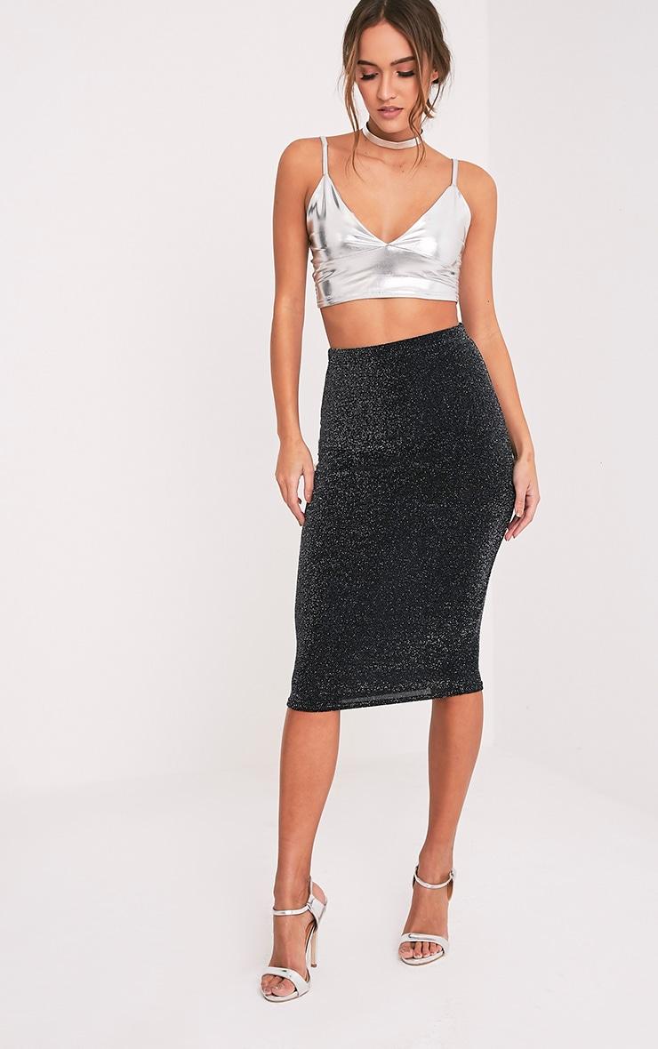 Hazeline Black Sheer Lurex Midi Skirt 1