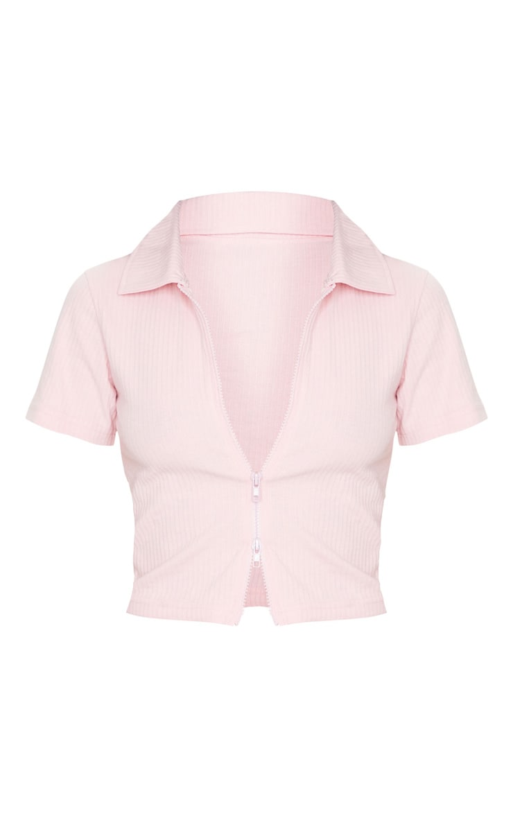 Baby Pink Short Sleeve Jumbo Rib Polo Collar Double Zip Top 5