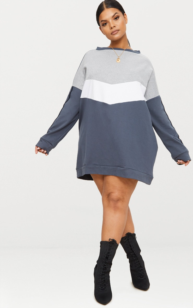 Plus Charcoal Chevron Panel Oversized Sweater Dress 4