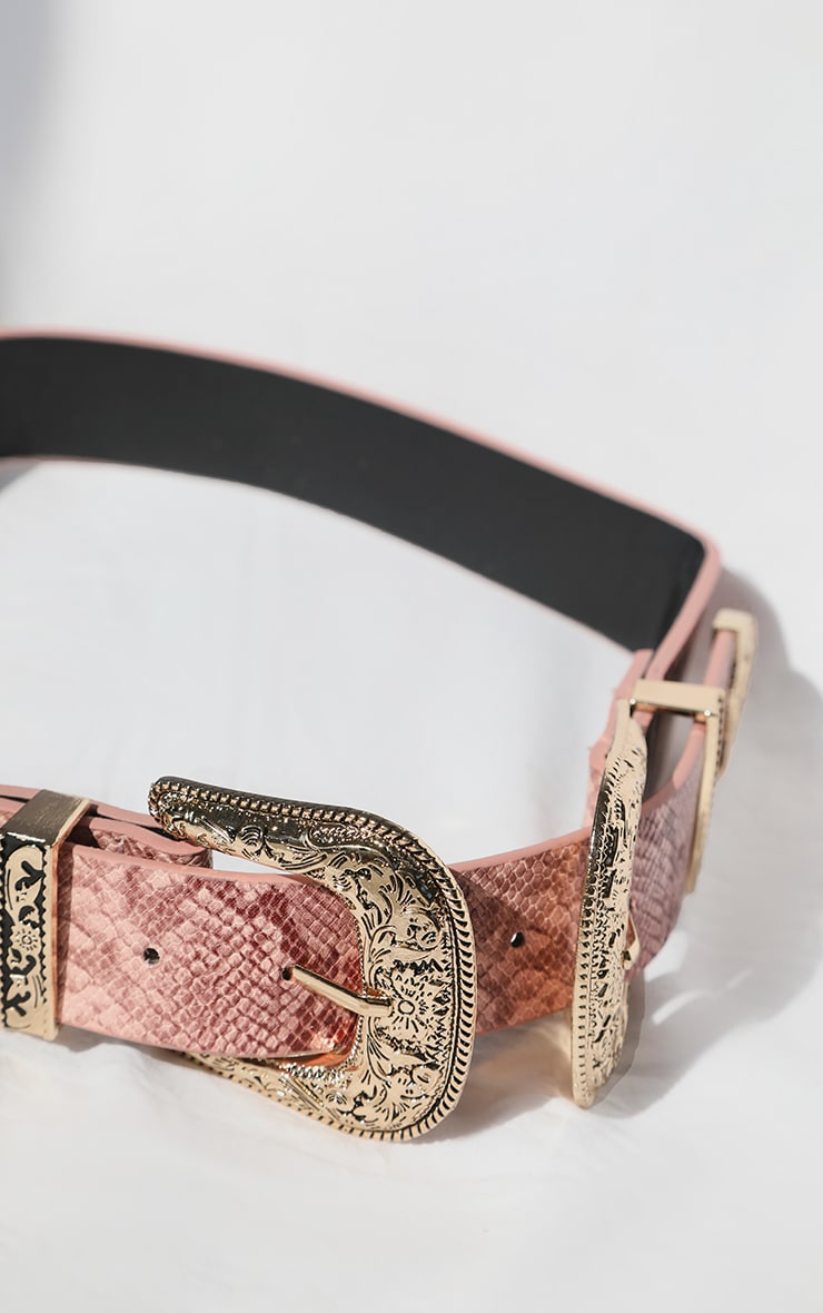 Pink Snake Ornate Buckle Waist Belt 2