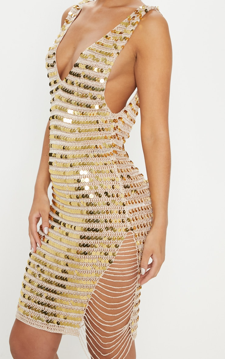 Gold Sequin V Neck Knitted Dress 5