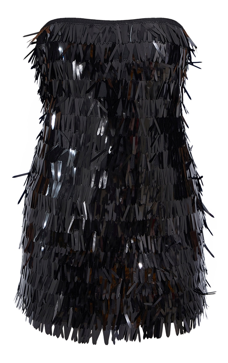 Petite Black Tassel Sequin Bandeau Bodycon Dress 5