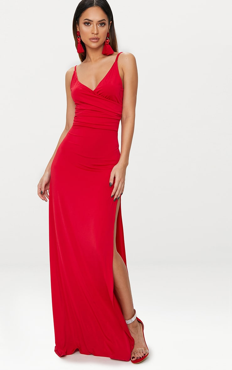 Red Strappy Plunge Slinky Maxi Dress 1