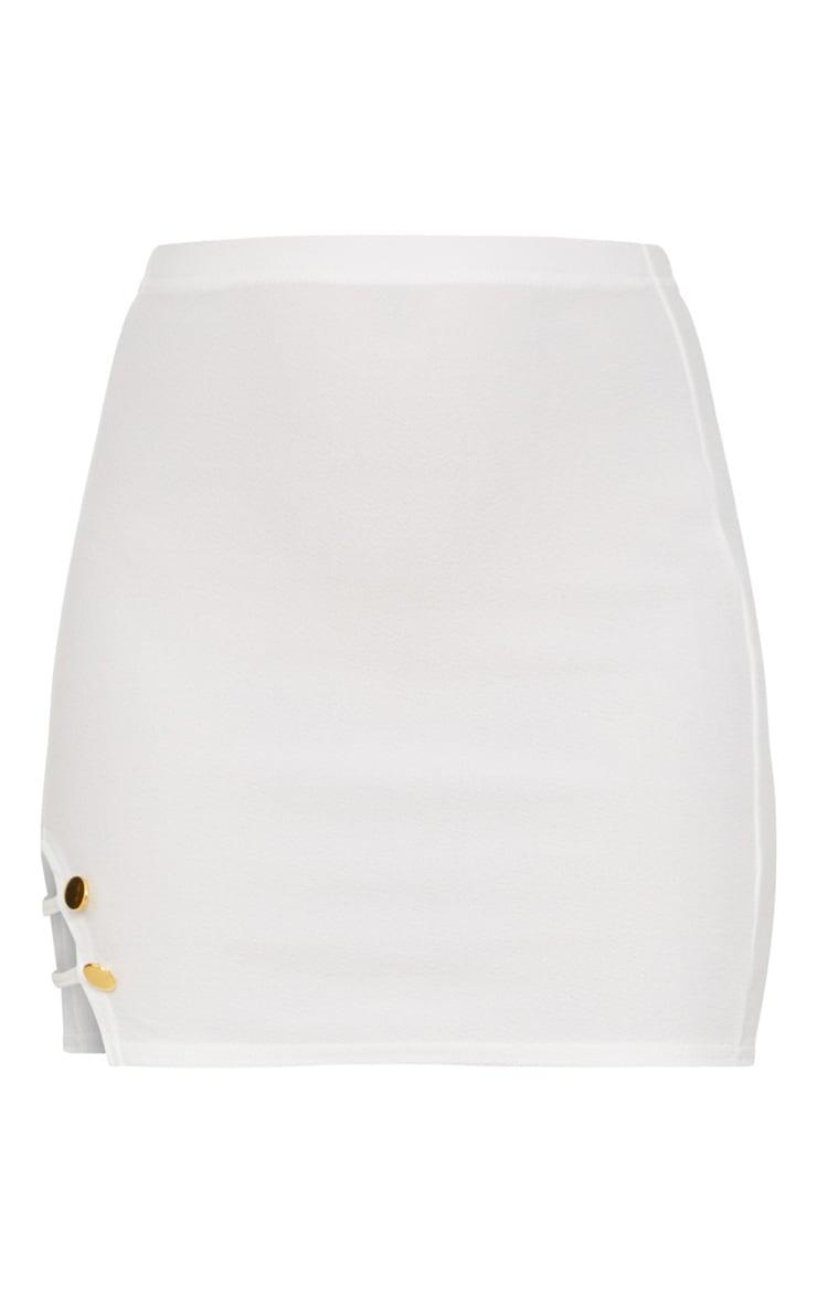 White Split Detail Mini Skirt 3