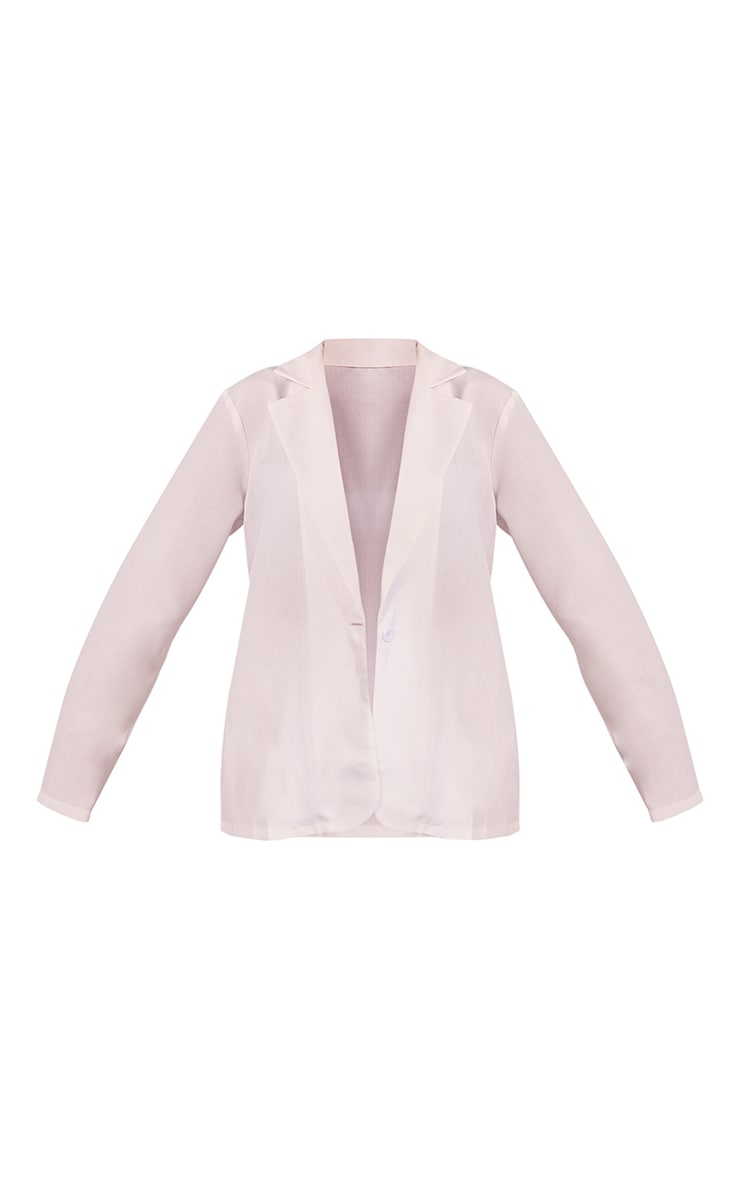 White Textured Woven Longline Blazer 5