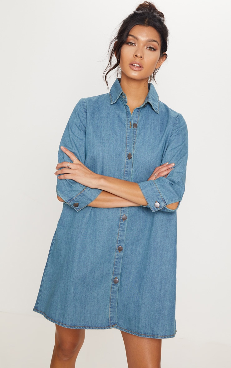 Robe chemise longue en jean à délavage moyen à boutons 4
