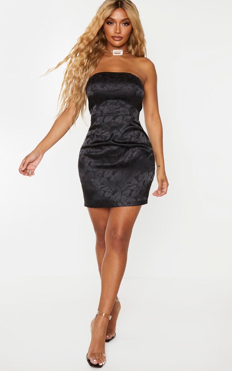 Shape Black Printed Satin Bandeau Bodycon Dress 1