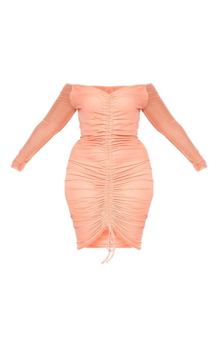 Plus Peach Mesh Ruched Bardot Midi Dress 3