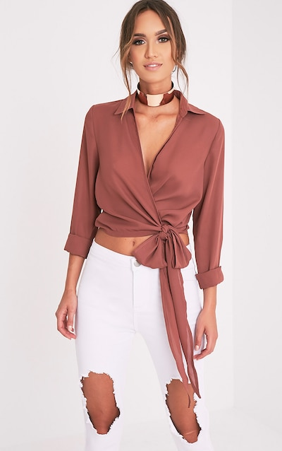 e50beff96e Avalyn Dark Rose Wrap Front Tie Side Blouse