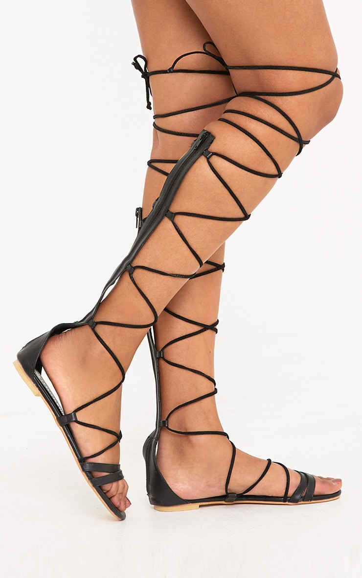 Lorna Black Over The Knee Lace Up Sandals 1