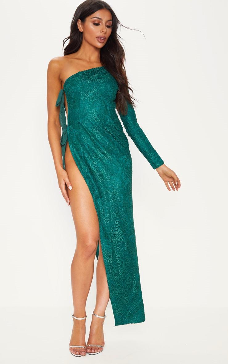bb031800f50c Emerald Green One Shoulder Lace Up Maxi Dress image 1