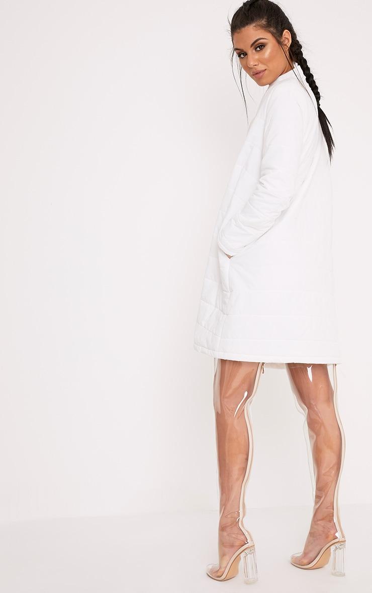 Jojena White Longline Puffer Coat 2