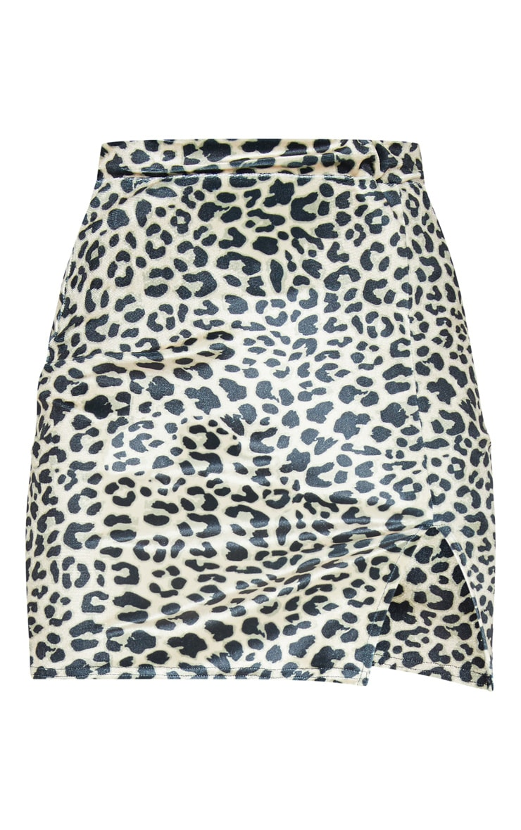 Tan Leopard Print Velvet Split Mini Skirt 3