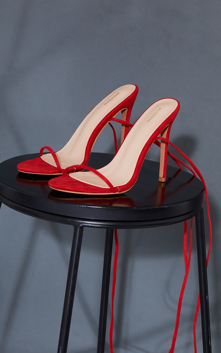 Red Wide Fit Faux Suede Round Toe Barely There Strappy Heeled Sandals 3
