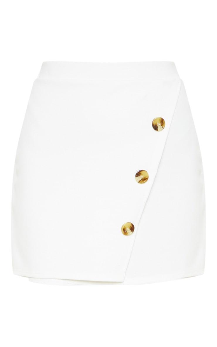Cream Button Detail Skirt  3