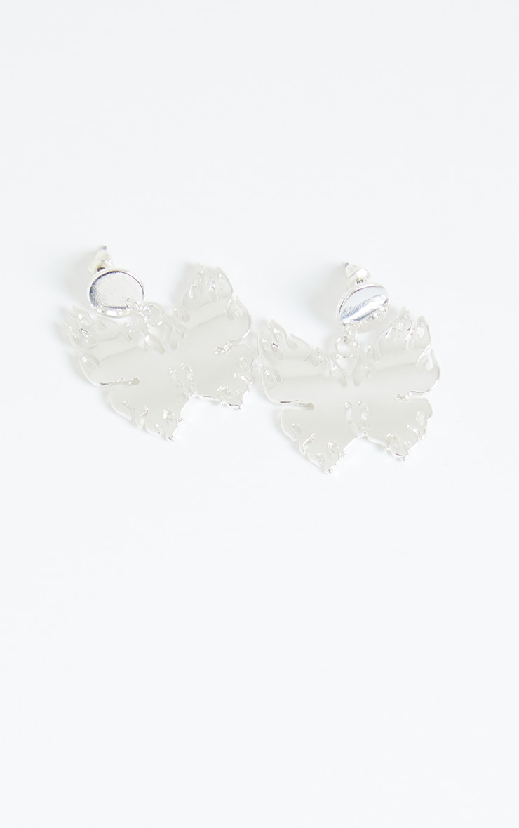 Silver Flame Butterfly Oversized Earrings 2