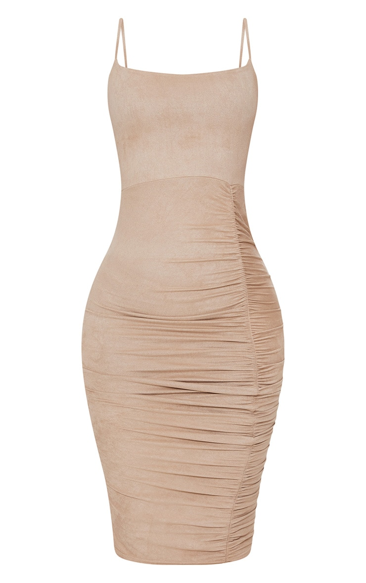 Shape Taupe Faux Suede Ruched Midi Dress 3