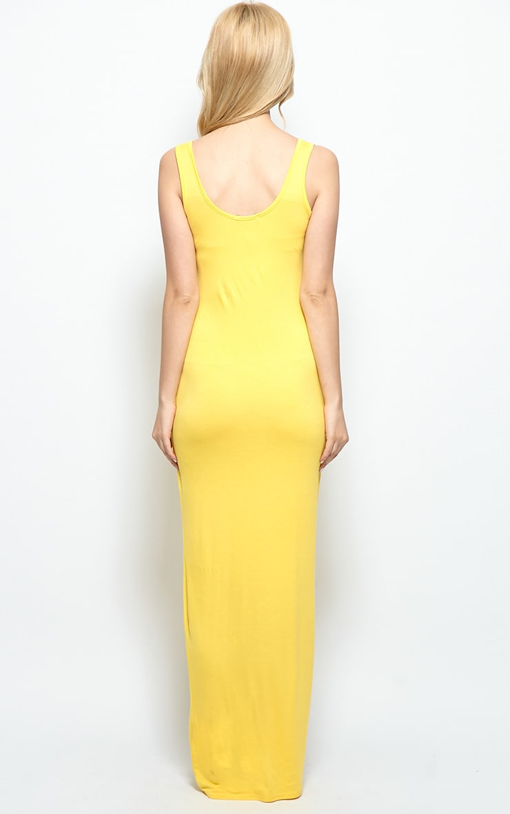 Zoe Yellow Jersey Scoop Neck Maxi Dress 2