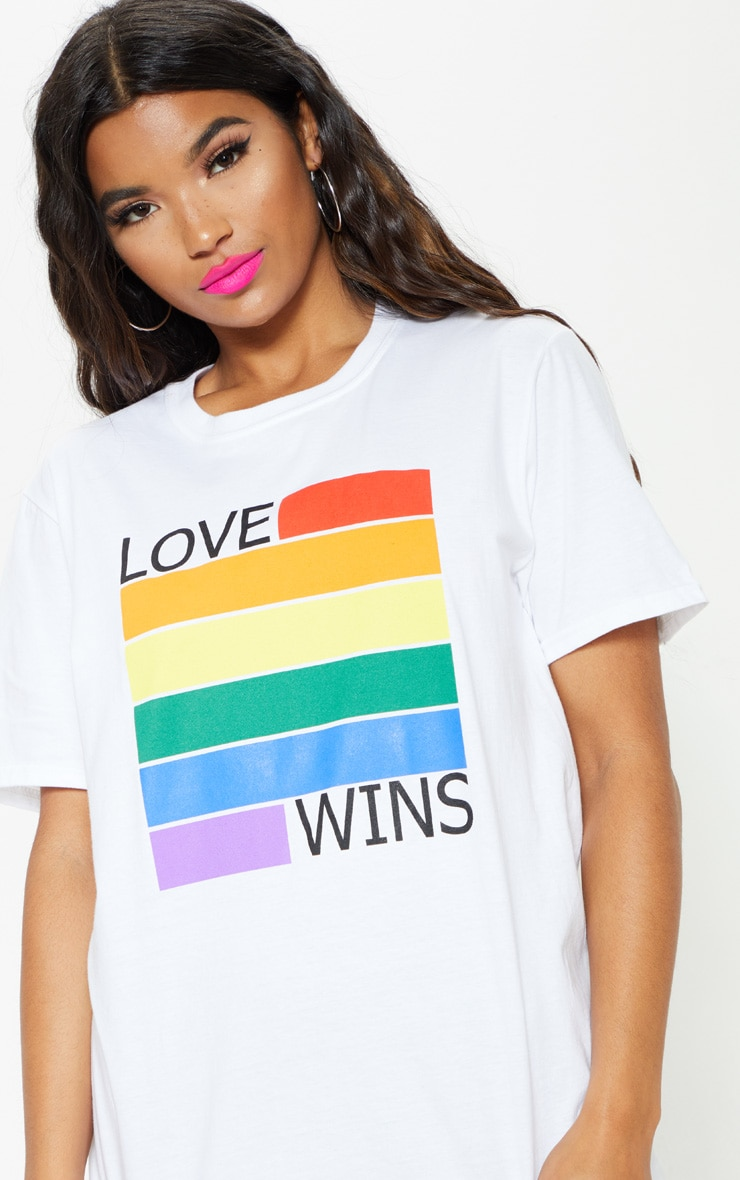 UNISEX White LOVE WINS Oversized T-shirt 6