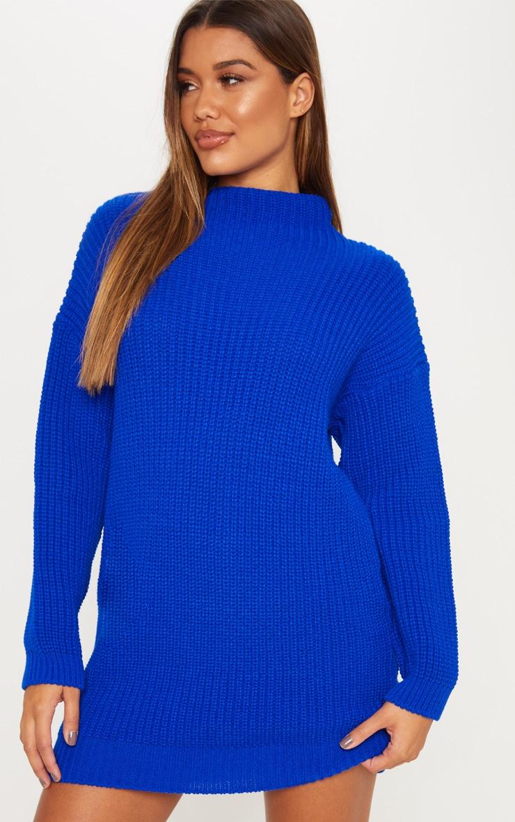 Cobalt Oversized Knit Dress  1
