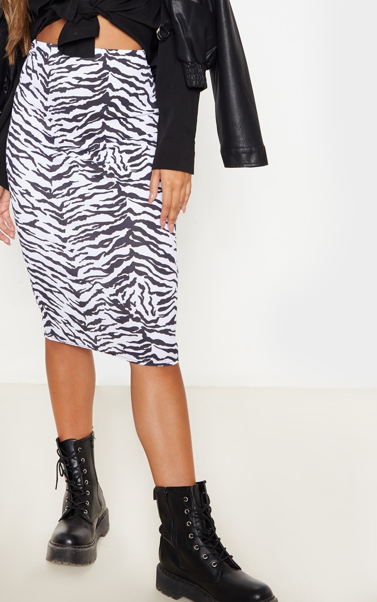 Monochrome Zebra Print Ribbed Midi Skirt  5