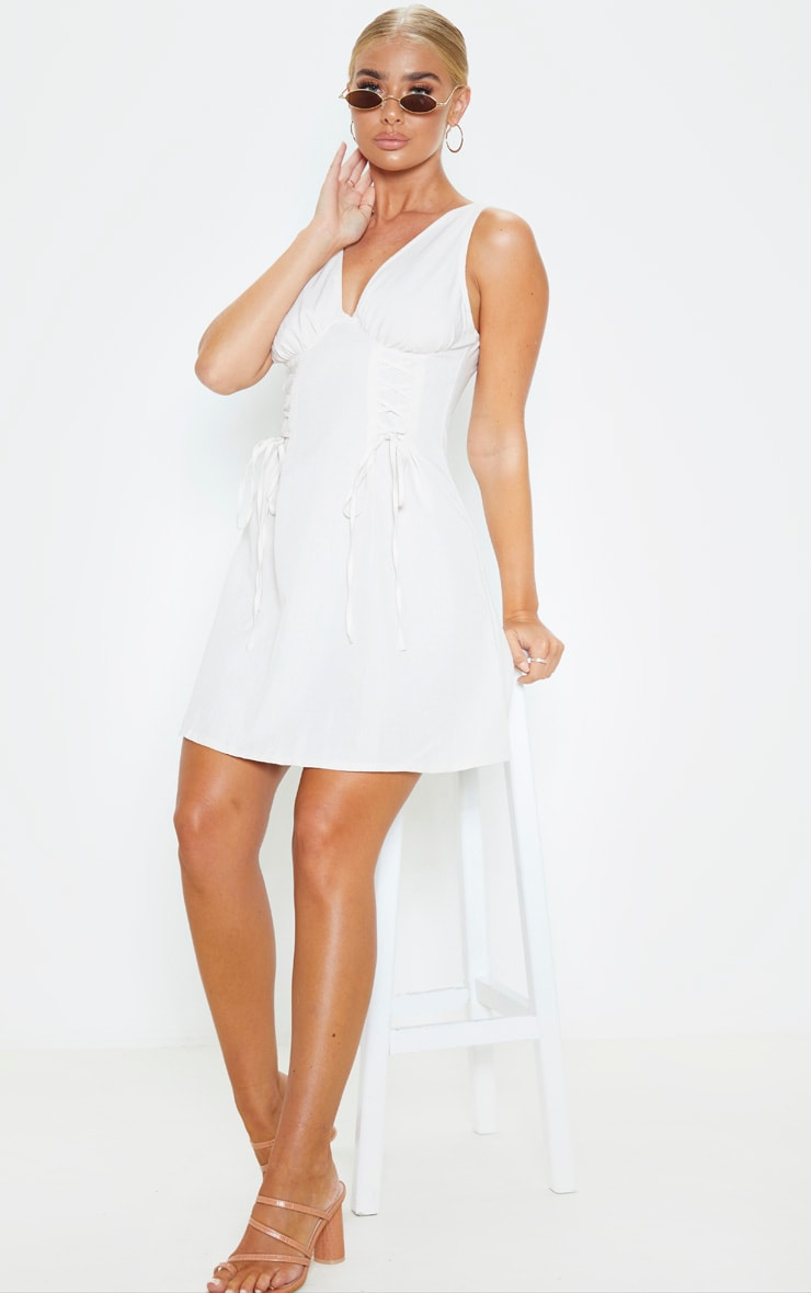 Stone Woven Lace Up Cup Detail Shift Dress 4