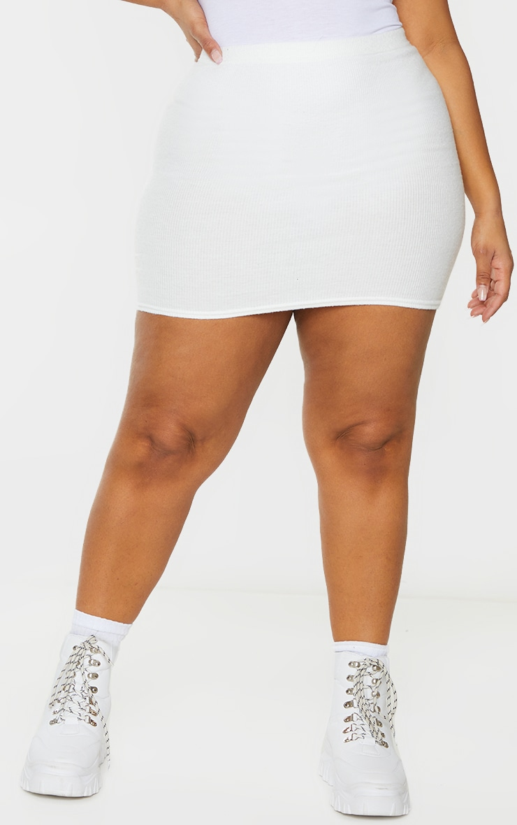 Cream Soft Brushed Rib Mini Skirt 2