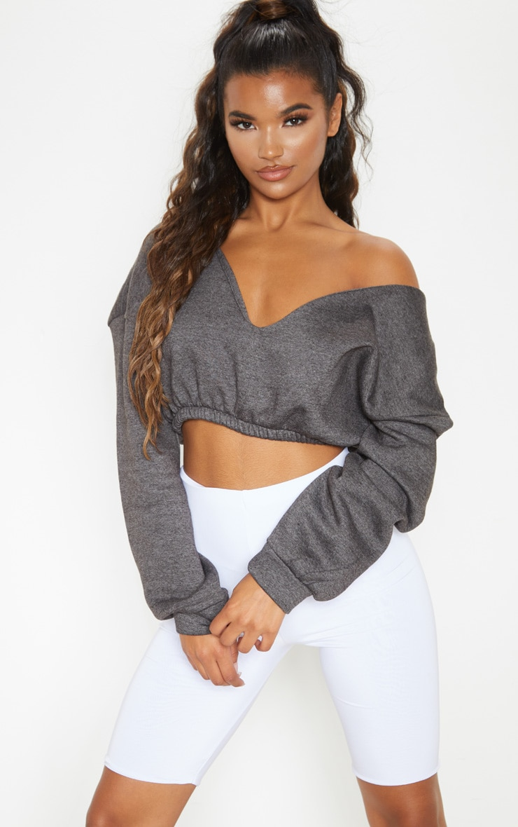 Charcoal Crop Off Shoulder Sweater  4