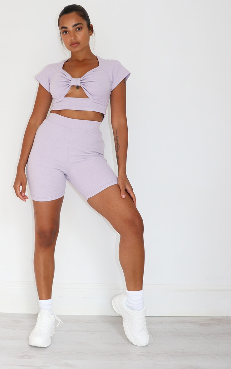 Petite Lilac Bow Detail Ribbed Crop Top 3