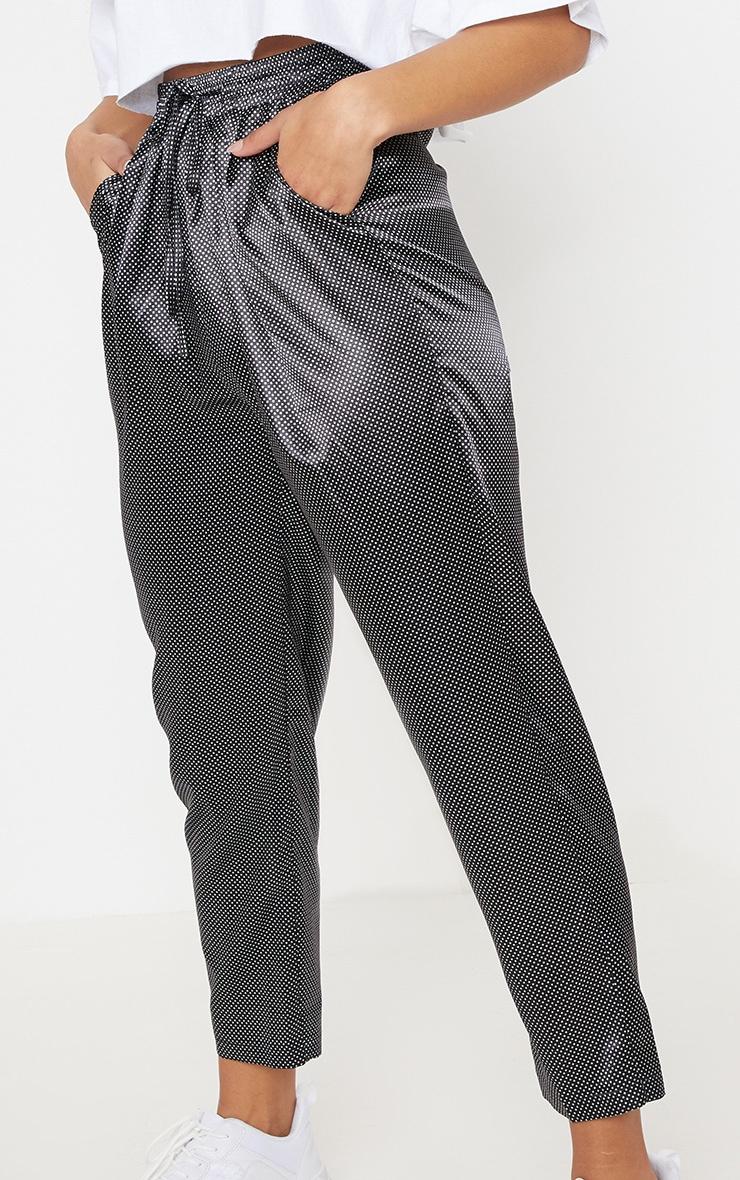 Black Satin Polka Dot Cigarette Pants 5