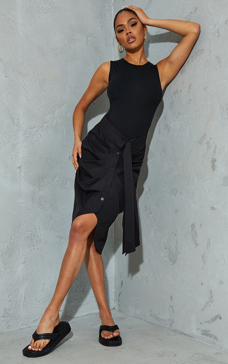 Black Foldover Button Through Midi Skirt 1