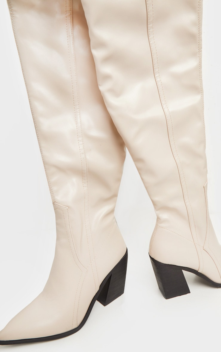 Nude Block Heel Thigh High Western Boot 3