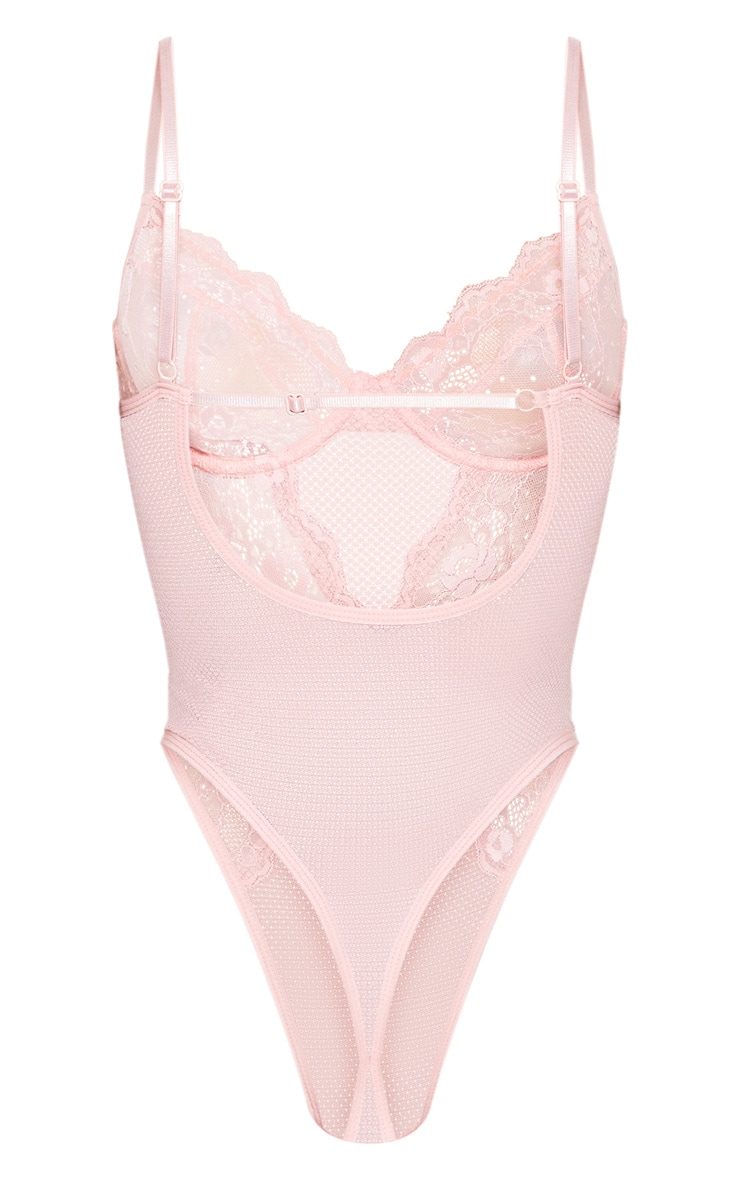 Pink Delicate Lace And Fishnet Underwired Body 4
