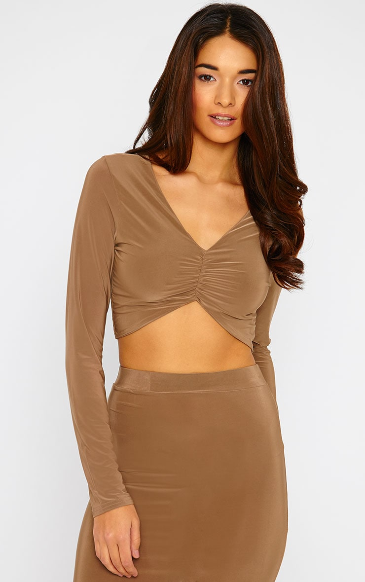 Maizie Mocha Slinky Ruched Crop Top 1