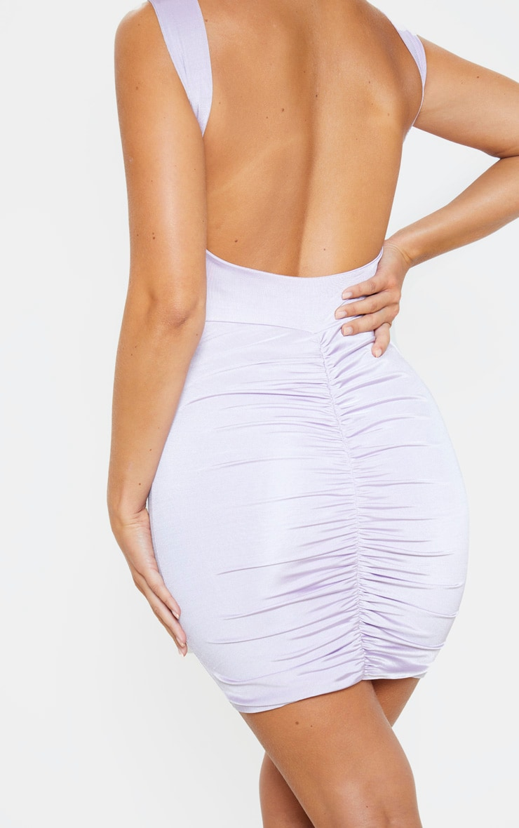 Lilac Metallic Slinky Ruched Back Bodycon Dress 5