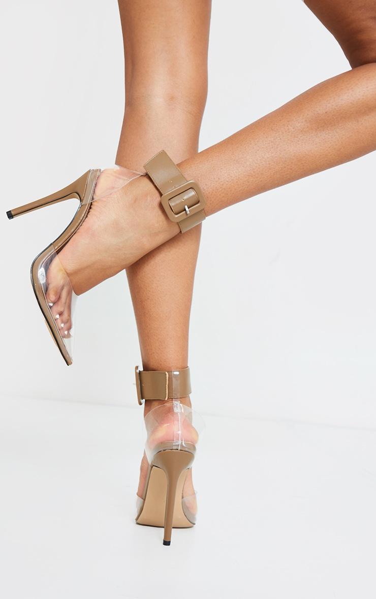 Sand PU Cuff Detail Clear Court Shoes 2