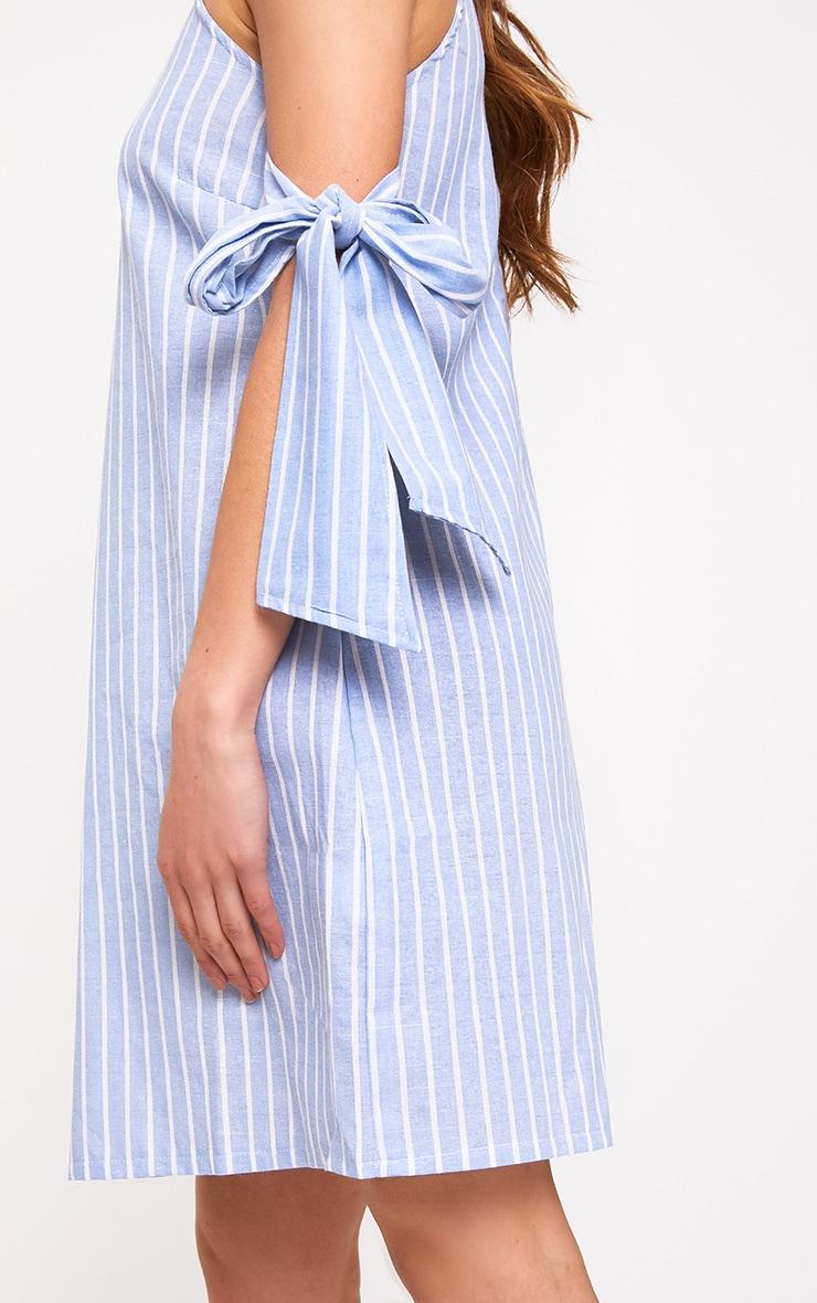 Blue Striped Tie Sleeve Shift Dress Dresses