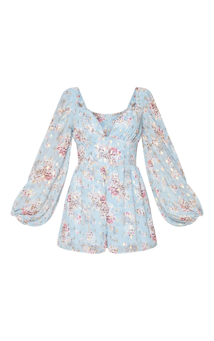 Dusty Blue Floral Floaty Plunge Chiffon Playsuit 5