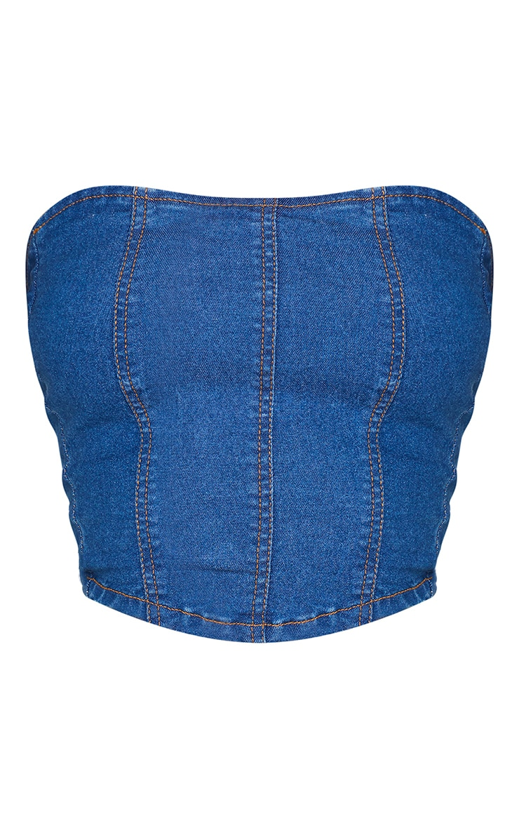 Shape Mid Blue Wash Seam Detail Denim Corset 5