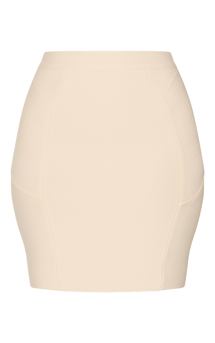 Nude Structured Bandage Panel Detail Mini Skirt 5