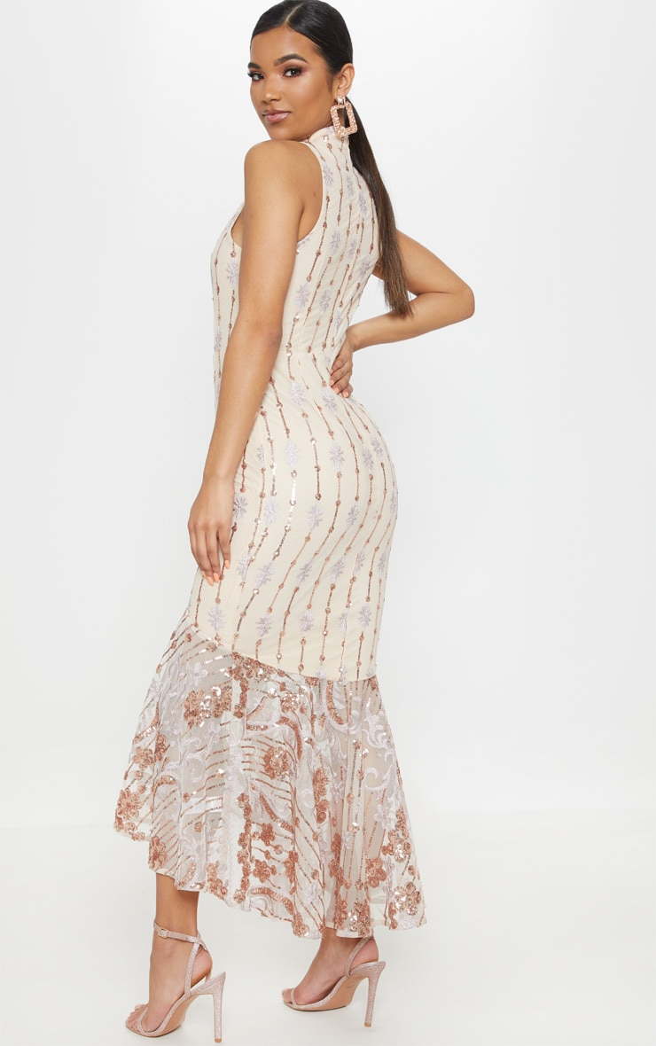 Rose Gold Sequin High Neck Fishtail Midaxi Dress 3