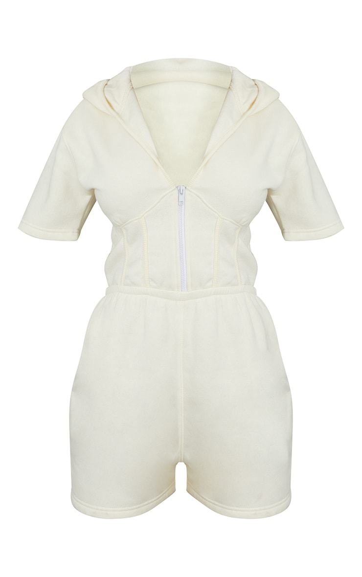 Cream Corset Detail Sweat Hooded Playsuit 5