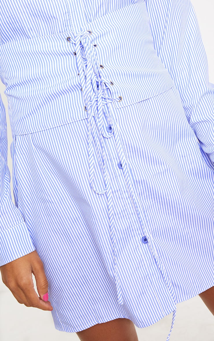 Blue Corset Lace Up Open Shirt Dress 5