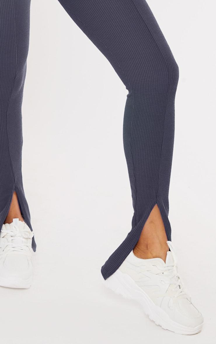 Petrol Blue Textured Rib Split Hem Skinny Pants 4